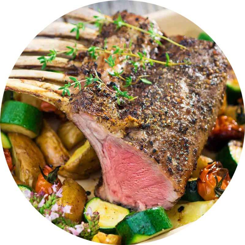 Enjoy Grass-fed Lamb with this Roasted Rack of Lamb Dijon recipe from Metropolitan Market